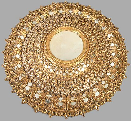 Spanish Colonial Large Sunburst Gold Gilt Mirror