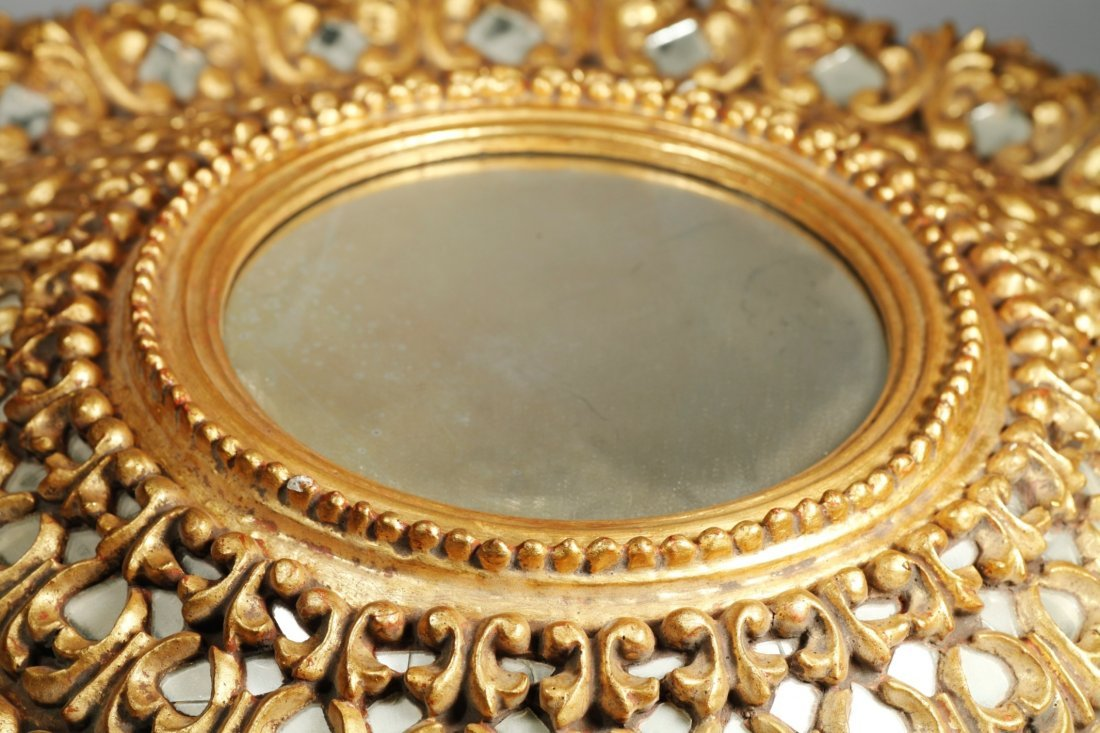 Spanish Colonial Large Sunburst Gold Gilt Mirror - 5