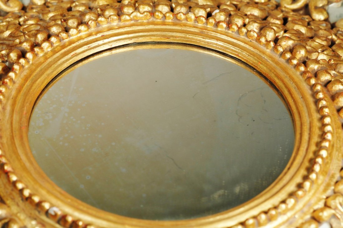 Spanish Colonial Large Sunburst Gold Gilt Mirror - 6