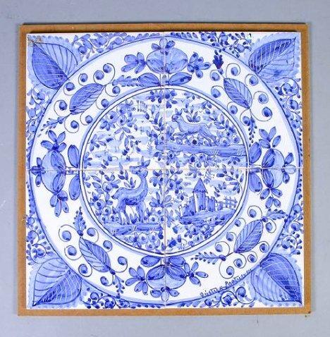 Vintage Blue & White Tile Mural Rustica Portugal