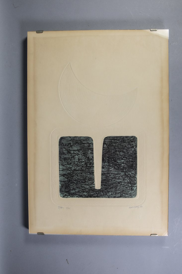Mid-Century  Modern Print Moonrise? Artist Signed