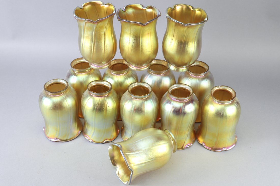 Lundberg Studio Art Glass Shades Set of 12 Signed RLF 9 - 2