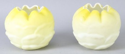 Victorian  Pair Satin Cased Glass Rosebowls Yellow