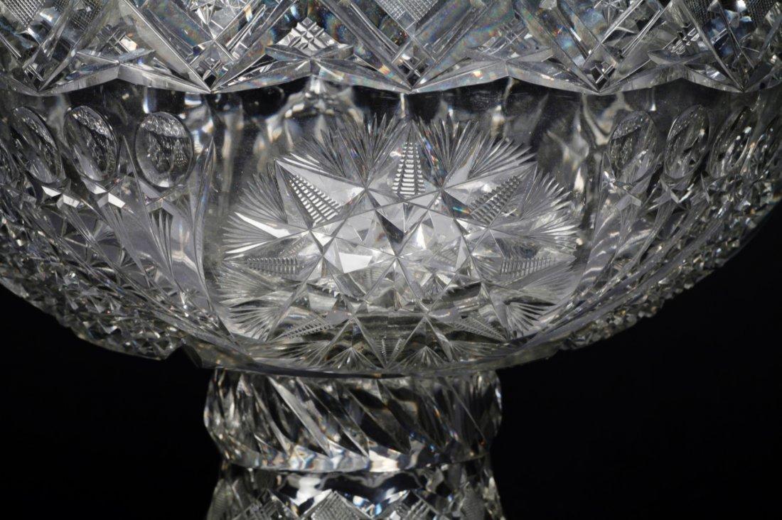 Antique American Brilliant Cut Glass Punch Bowl - 10