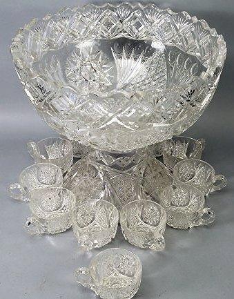 Antique American Brilliant Cut Glass Punch Bowl