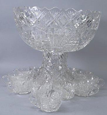 Antique American Brilliant Cut Glass Punch Bowl - 2
