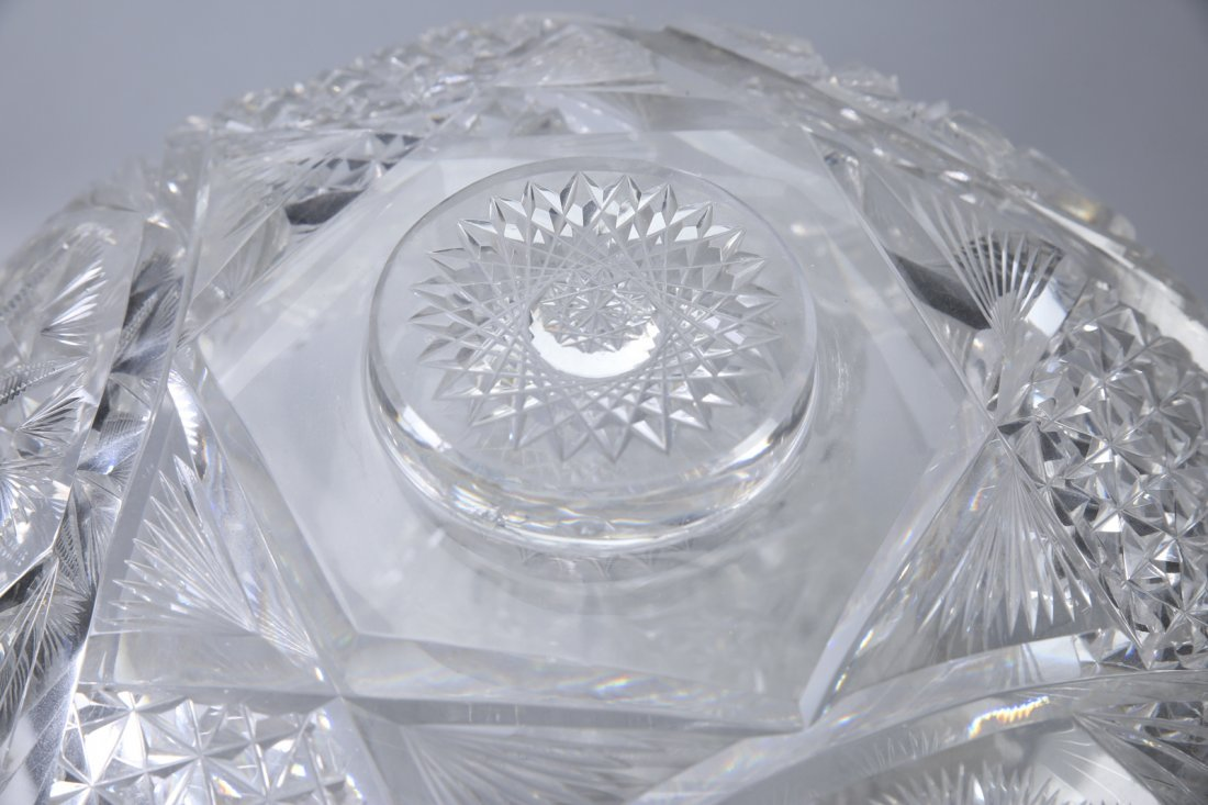 Antique American Brilliant Cut Glass Punch Bowl - 3