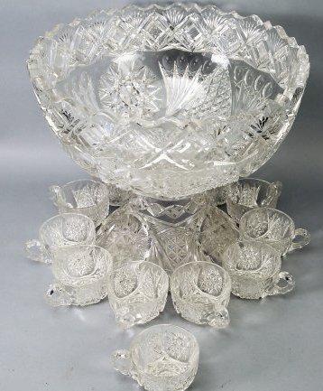 Antique American Brilliant Cut Glass Punch Bowl - 4