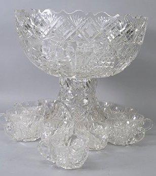 Antique American Brilliant Cut Glass Punch Bowl - 5