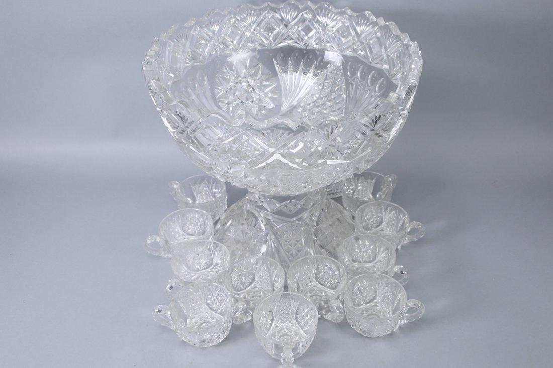 Antique American Brilliant Cut Glass Punch Bowl - 6