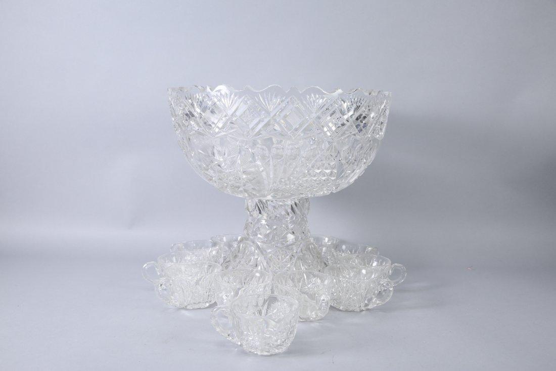 Antique American Brilliant Cut Glass Punch Bowl - 7