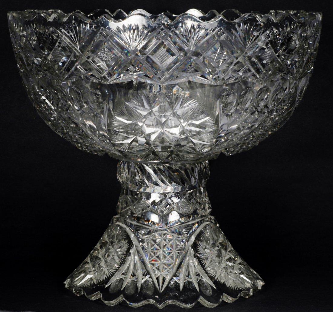 Antique American Brilliant Cut Glass Punch Bowl - 8