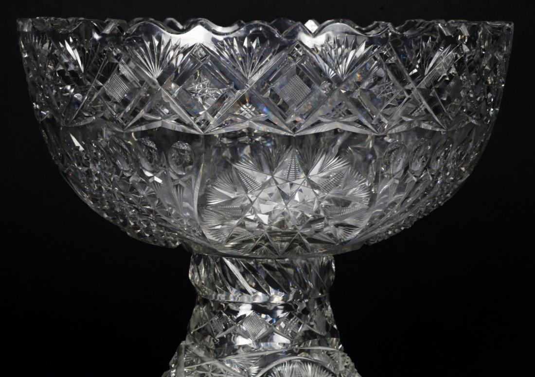Antique American Brilliant Cut Glass Punch Bowl - 9