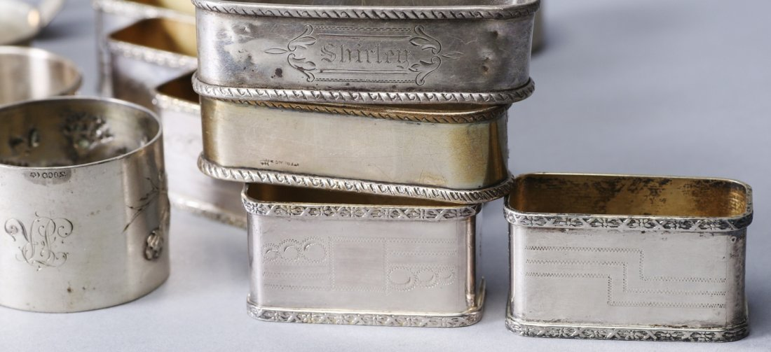 Misc Lot of Sterling and Silverplate Napkin Rings - 3