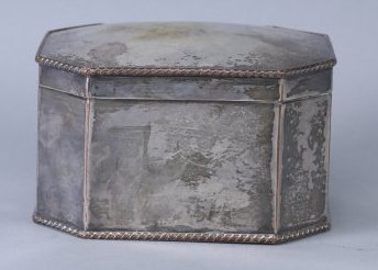 Antique Tea Caddy, Silver on Copper
