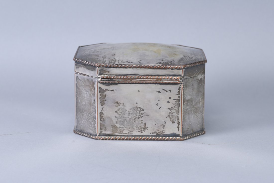 Antique Tea Caddy, Silver on Copper - 2