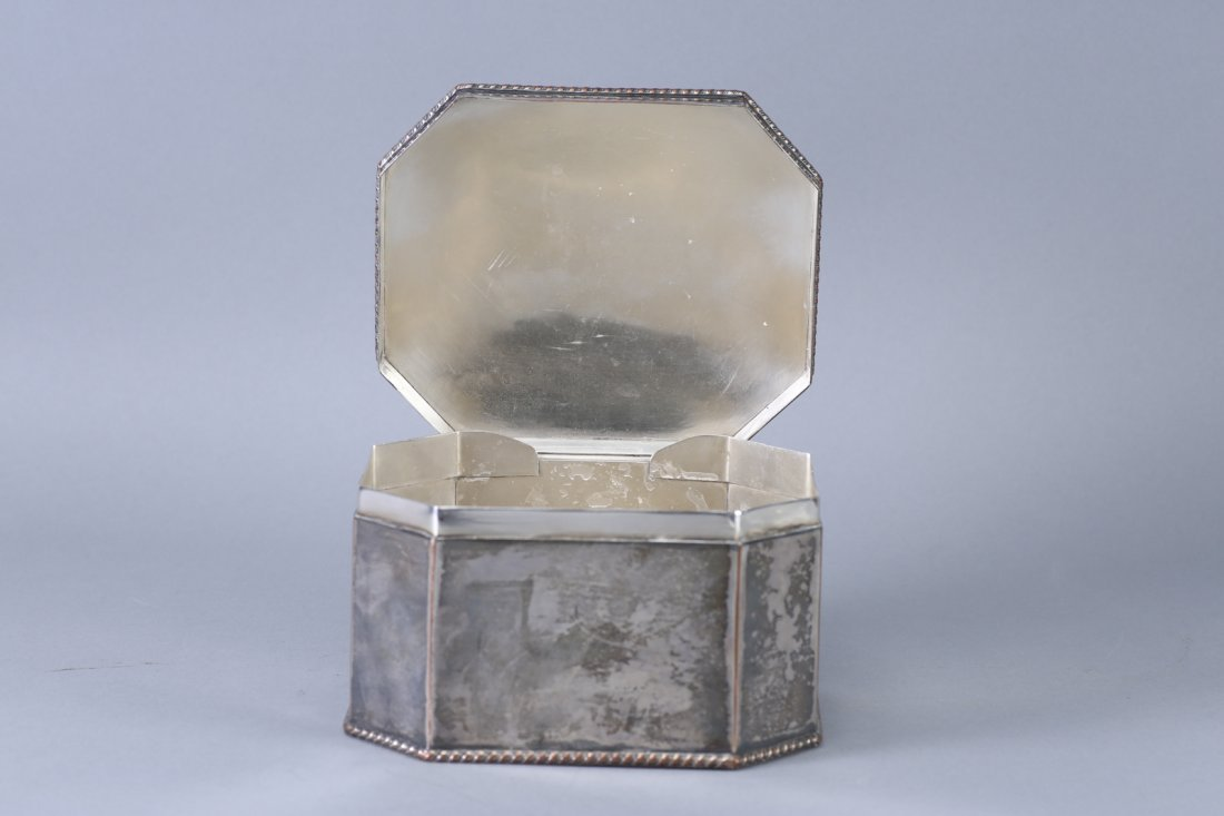 Antique Tea Caddy, Silver on Copper - 5