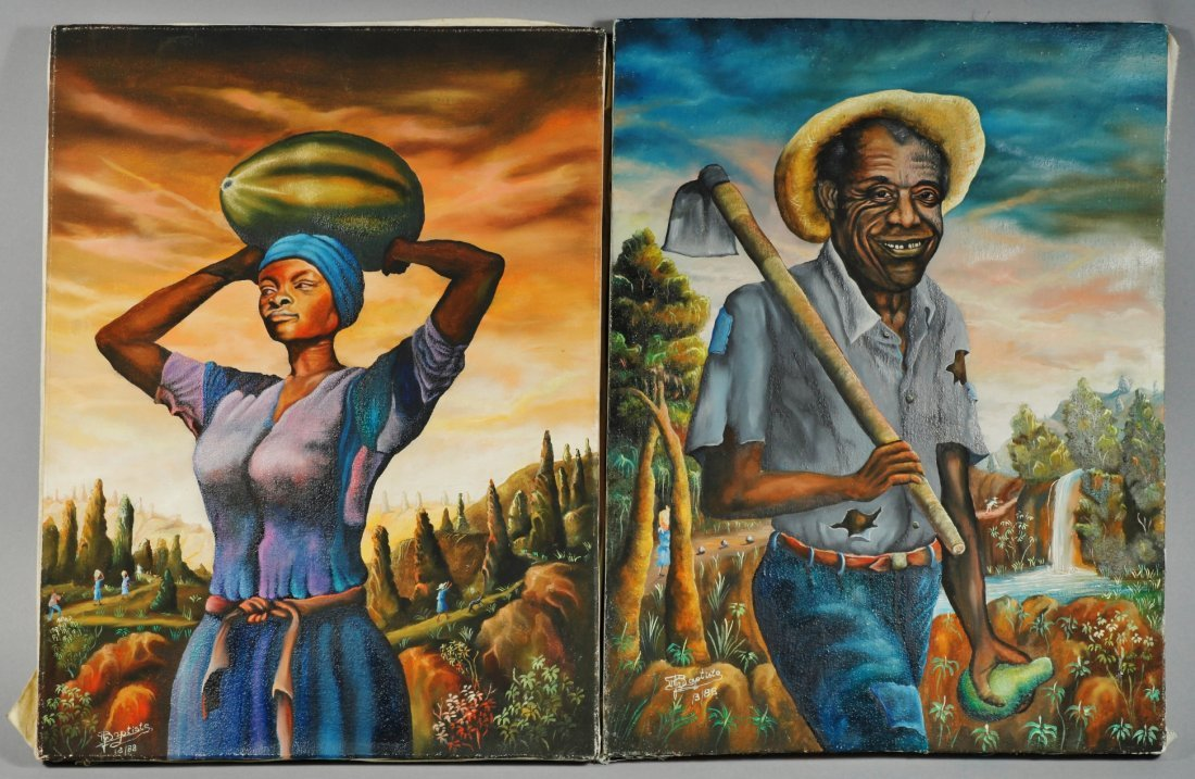 Jean Baptistie Botter Haitian 1918-1979 Pair of Oil