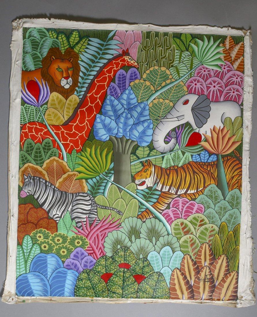 Haitian Art Acelin, Oil on Canvas Painting