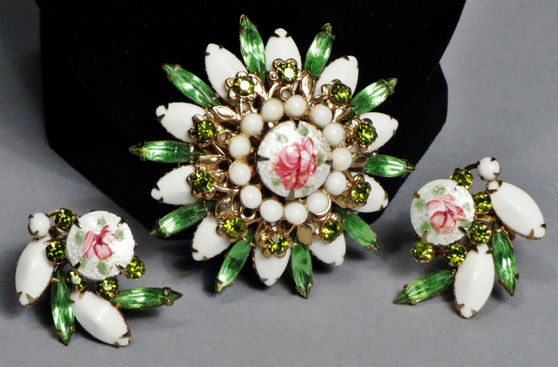 Nice Brooch and earring set by Weiss with Original Card - 5