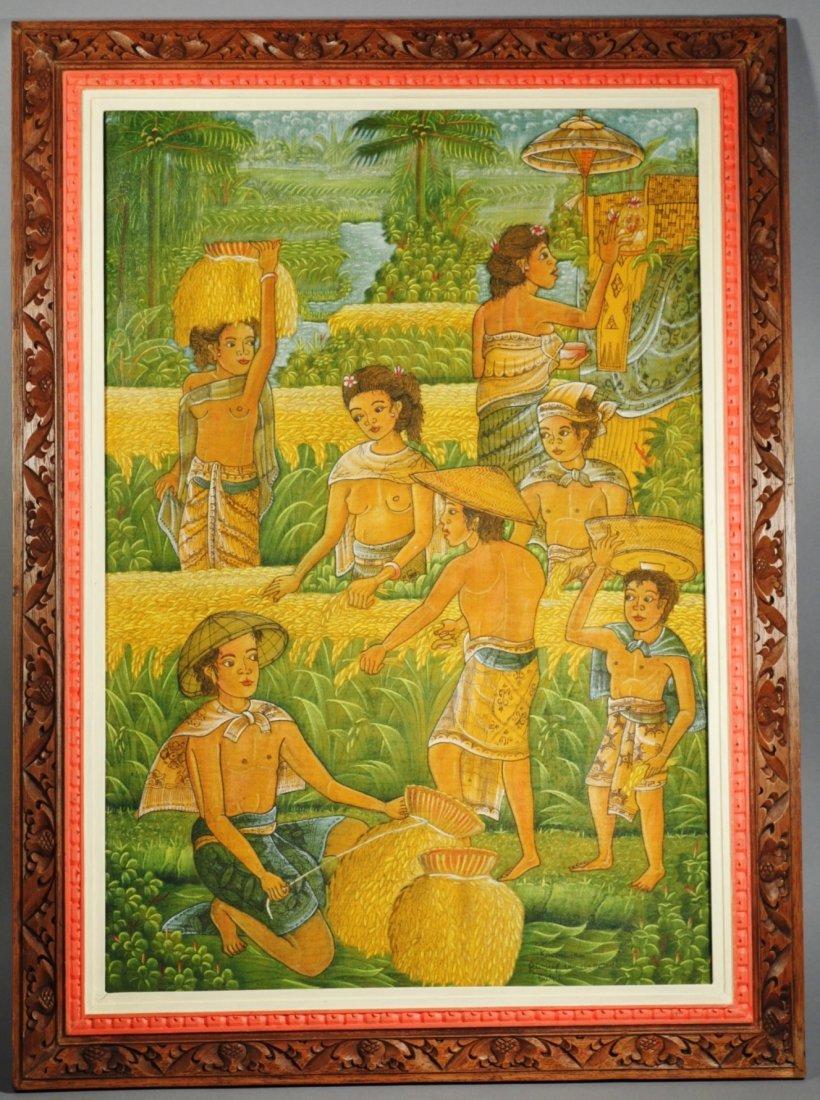 Bali Oil on Linen Artist Signed Painting