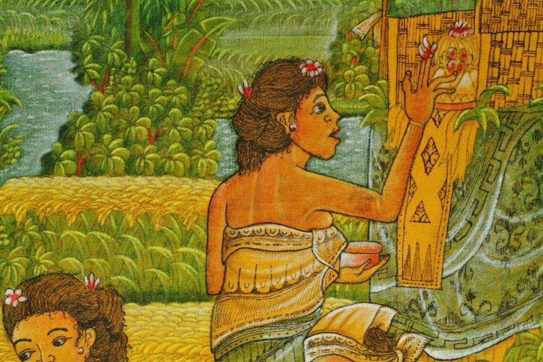 Bali Oil on Linen Artist Signed Painting - 5