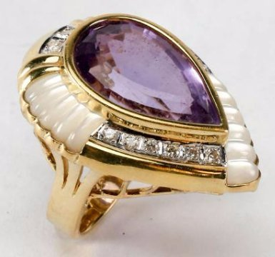 Stunning! 14k Gold, Diamond & Amethyst Cocktail Ring