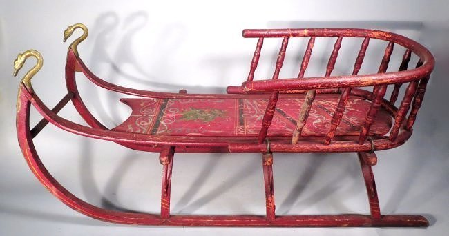 c19th Century Primitive Hand Painted Sled