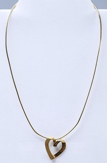 14K yellow gold Open heart pendant with Snake Chain
