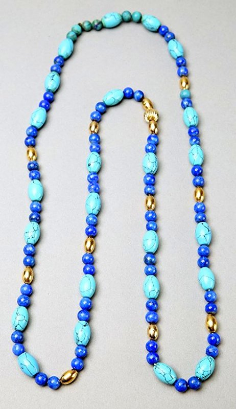 Turquoise, Lapis, 14K Gold Bead Necklace