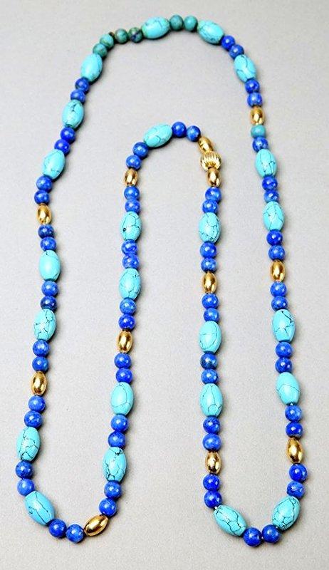 Turquoise, Lapis, 14K Gold Bead Necklace