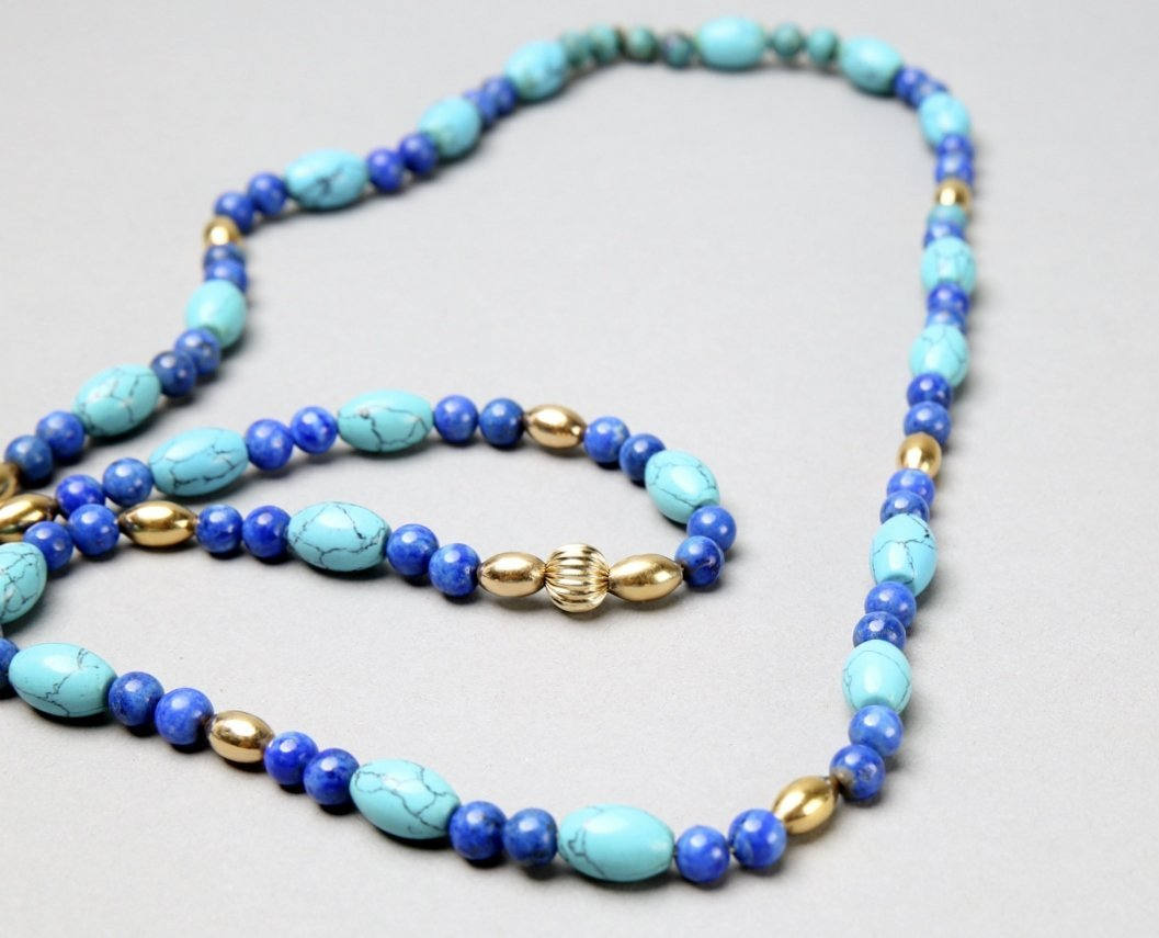 Turquoise, Lapis, 14K Gold Bead Necklace - 2