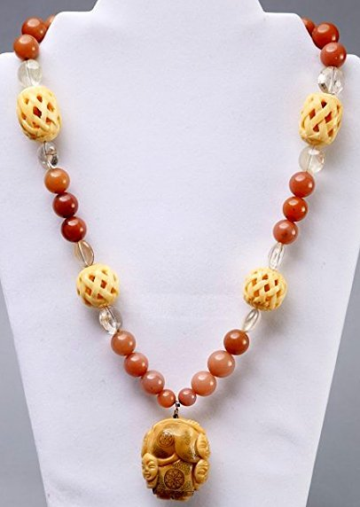 Natural Stone, Quartz and Bone Bead Necklace Netsuke