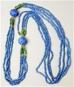 Multi Strand Lapis Malachite 14K Bead Necklace