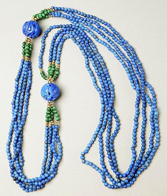 Multi Strand Lapis, Malachite, 14K Bead Necklace