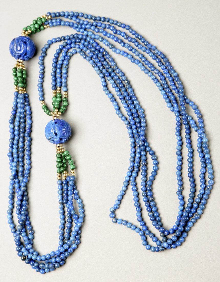 Multi Strand Lapis, Malachite, 14K Bead Necklace - 2