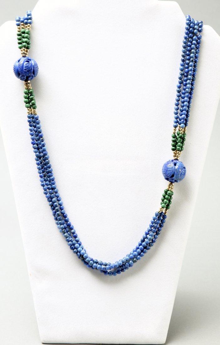Multi Strand Lapis, Malachite, 14K Bead Necklace - 3