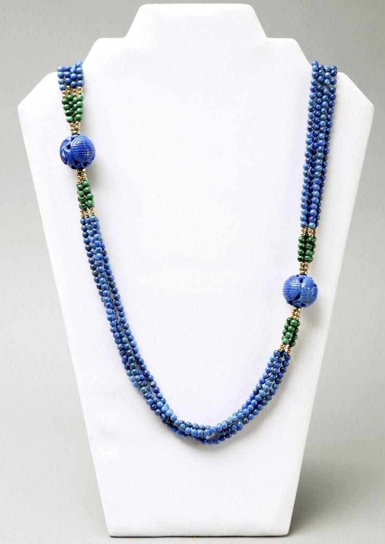 Multi Strand Lapis, Malachite, 14K Bead Necklace - 4