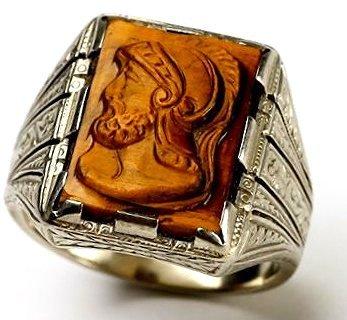 c1920 10K Gold/Tiger Eye Carved  Roman Soldier Ring