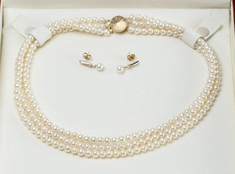 14K Yellow Gold Triple Strand Pearl Necklace