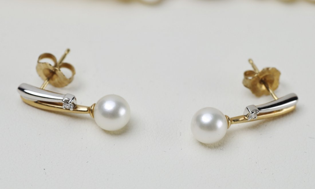 14K Yellow Gold Triple Strand Pearl Necklace - 2