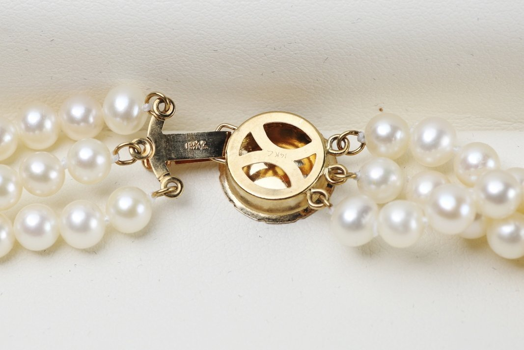 14K Yellow Gold Triple Strand Pearl Necklace - 6