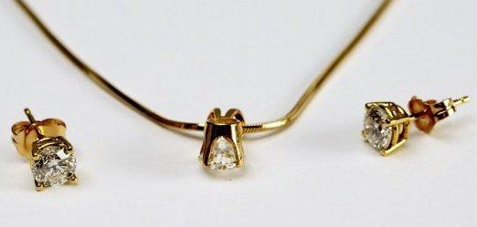 18K Gold & Diamond Earrings & Pendant - 2