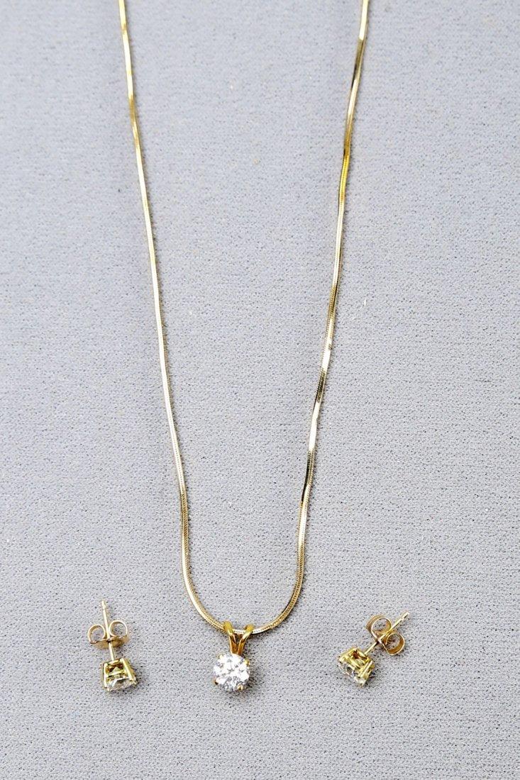 18K Gold & Diamond Earrings & Pendant - 4