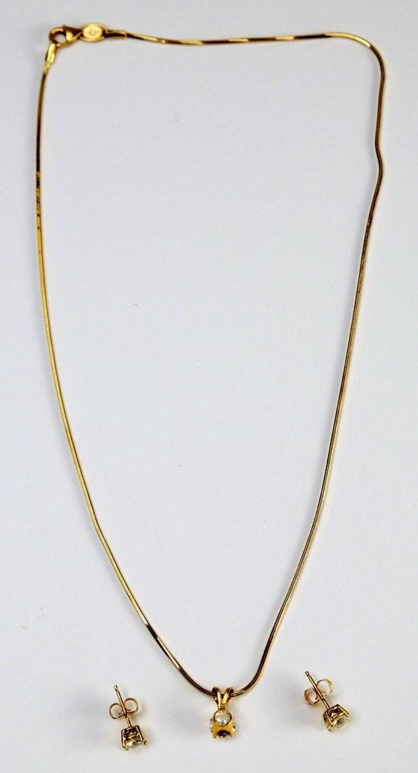 18K Gold & Diamond Earrings & Pendant - 5
