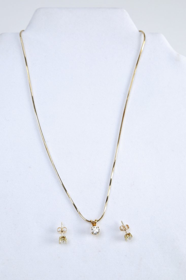 18K Gold & Diamond Earrings & Pendant - 6