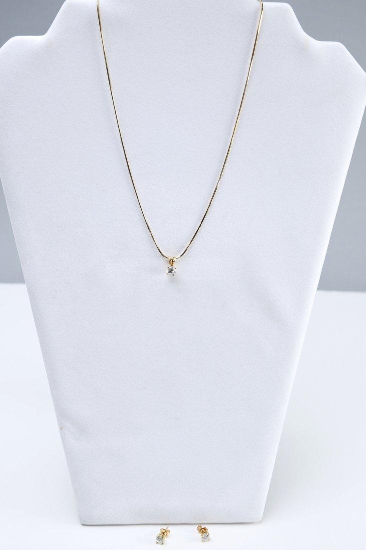 18K Gold & Diamond Earrings & Pendant - 7
