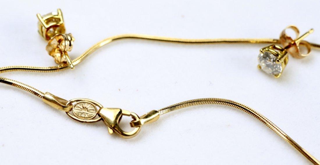 18K Gold & Diamond Earrings & Pendant - 8