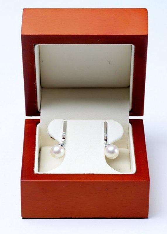 14K White Gold, Pearl & Diamond Earrings