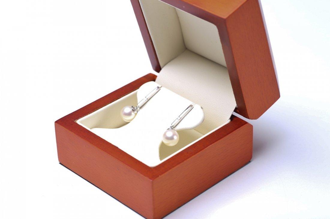 14K White Gold, Pearl & Diamond Earrings - 2